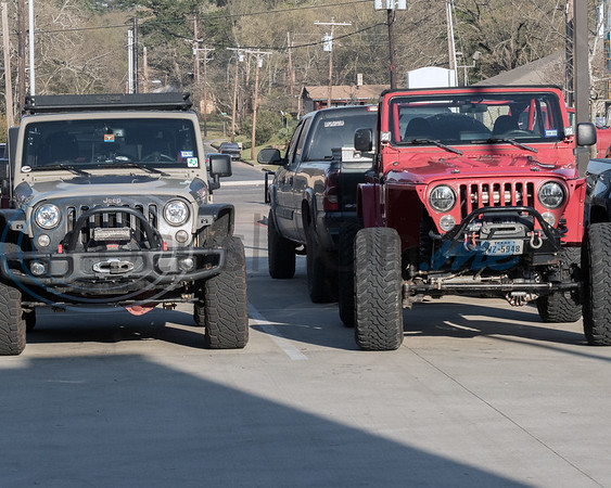Two of the many Jeep's attending the 2019 East Texas Jeep Club Cruise-In, held at the Grub Burger Barn on Tuesday, March 19, 2019, in Tyler, Tx. (Rick Flack/Freelance)