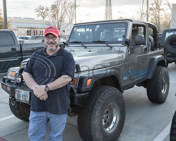 A club member and his Jeep at the 2019 East Texas Jeep Club Cruise-In, held at the Grub Burger Bar, in Tyler, Tx. Tuesday, March 19,  2019. (Rick Flack/Freelance)