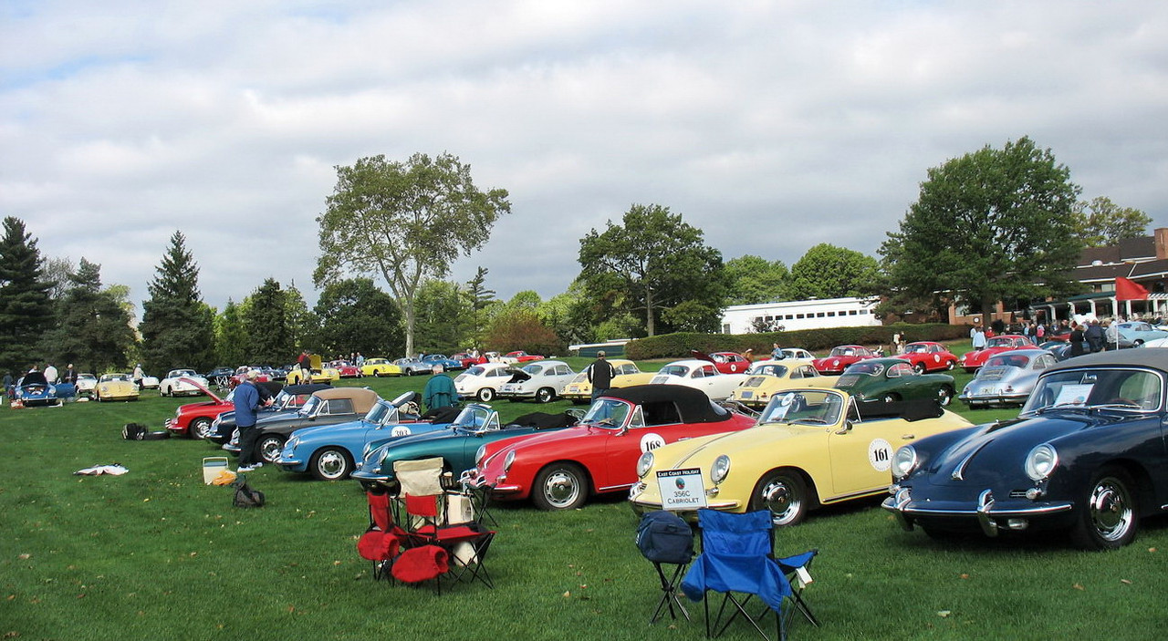 A row of 356C Cabriolets. These are the newest of the 356 Porsches, made in 1964 and 1965. Ours is one of the very last ones made.
