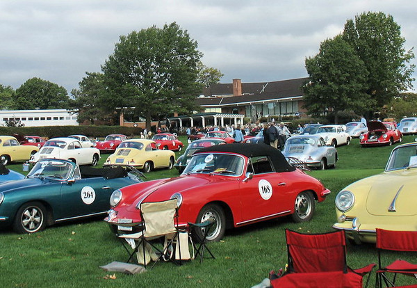 <b><u>Our car - 168.</u></b> The concours at the Beechmont Country Club. They allowed us right onto part of the golf course. This is a row of 356C Cabriolets all made in 1964 or 1965. Most of us kept the tops up as it was threatening to rain and a major change in weather kept the temperatures cool all day.  We had a good trip - 2 days via a stop in Rochester, NY to visit relatives and friends on the way there and we made it home all in one long day - about 8 1/2 hours of driving time.