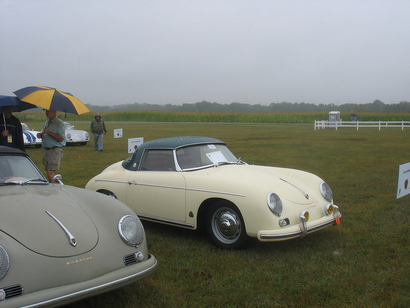 These are earlier cars and this one typifies colours of the 1950's.<br /> <br /> We may have more pictures later, but that's it for now. By the time I got here, it was raining fairly hard and we sought refuge in the tent. <br /> <br /> We stayed until the catered lunch boxes were distributed and then headed back to town in VERY heavy rain. Since we were staying at the overflow hotel a couple of miles farther than the Eden Resort, we had to take Interstate Highway for a couple of miles and conditions were so bad that we opted to take a taxi to the later banquet. We did not take our camera.