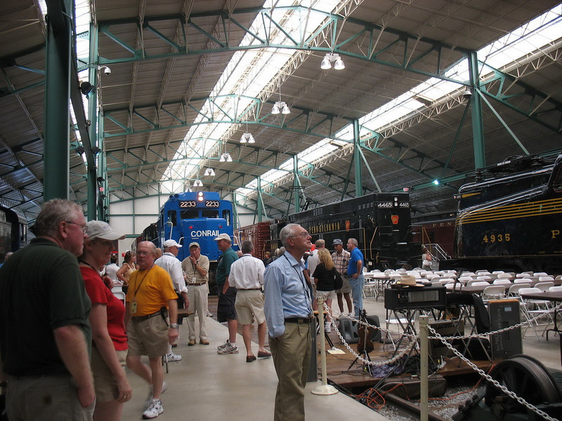 Inside the Railroad Museum. Entry areas had AC, but it was rather warm where the trains are and where they were set up to feed us dinner.