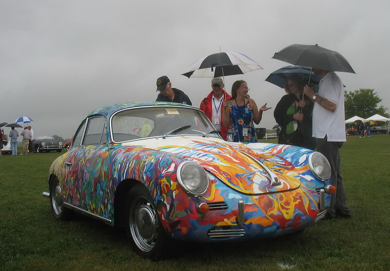"""A rather unusual paint job. The owner said it was inspired by the music of Jimi Hendrix. I suspect also by the psychedelically painted car of Janis Joplin. <br /> <br /> There are pics of the Joplin car at:   <a href=""""http://www.officialjanis.com/porsche.html"""">http://www.officialjanis.com/porsche.html</a>"""