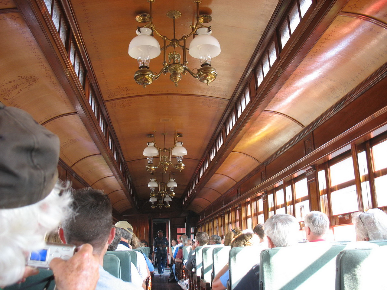 Interior of the car in which we were riding. All of the cars and engines have been restored at the Strasburg Rail Road.
