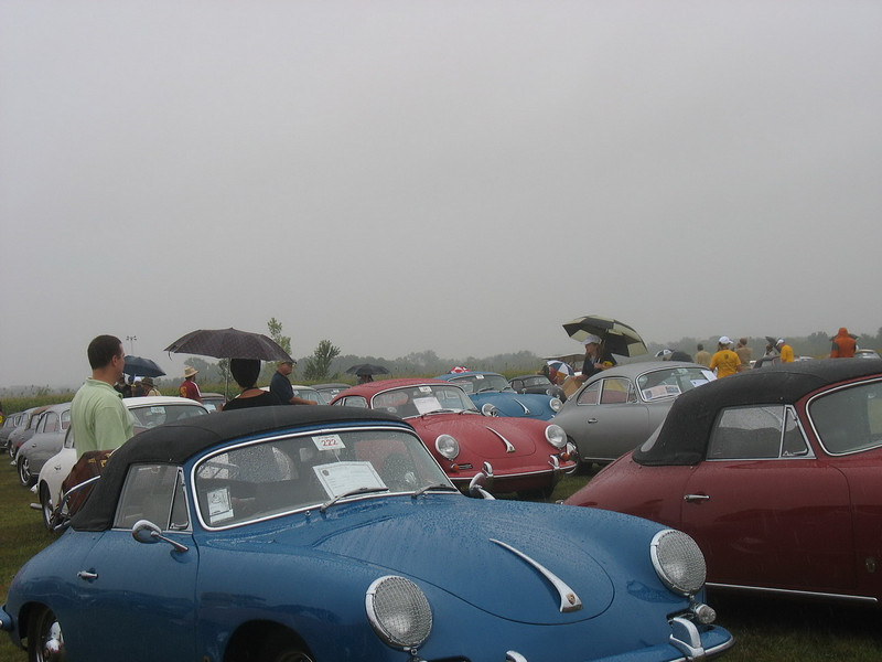 356 Cabriolets and 356 Coupes in the rear.