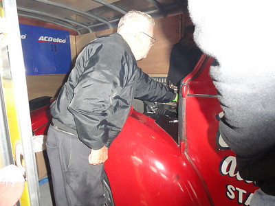 Firesuit Phil tuning the Bee Line car