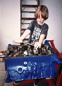 Bryce checks torque on main bearing bolts. He was an on-site observer through the entire engine building process and I made sure that he got some hands on time, as appropriate. As a consequence he is, as a young man, fearless with any engine teardown and rebuild.