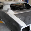 Driver's side roof/new quarter panel seam patched with fiberglass matte.  Quarters and dutchman panel and trunk lid seams adjusted/repaired.