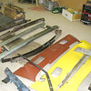 Original bumpers, leaf springs, rear valance and replacement rear valance, front valance, etc.