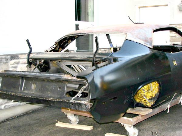 Mock up passenger side new rear quarter panel.