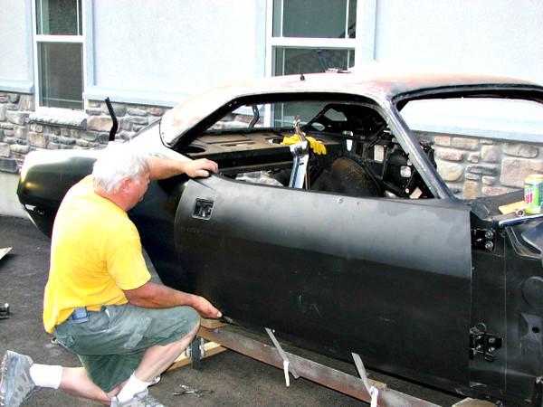 Aligning door with new rear quarter/fender.