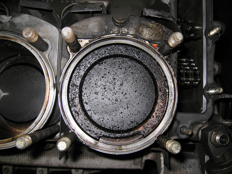 Broken piston and ring.