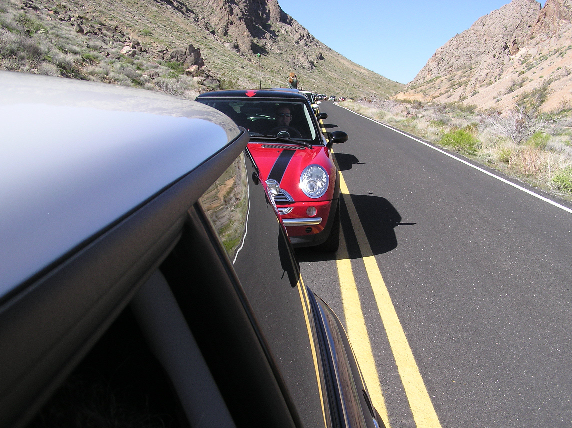 Sunday. Waiting to get into the Valley of Fire State Park.