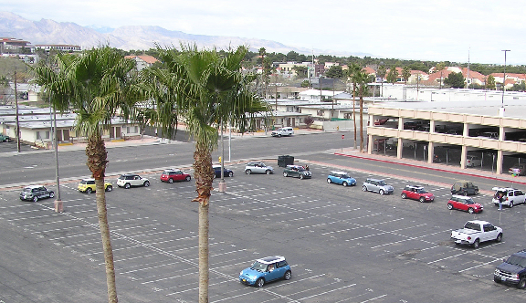 """MINIs queue up for the Aces High Poker Run. Drivers (and their trusty navigators) try for the best poker hand while seeing some of Las Vegas' most historic and sometimes """"cheesy"""" landmarks."""