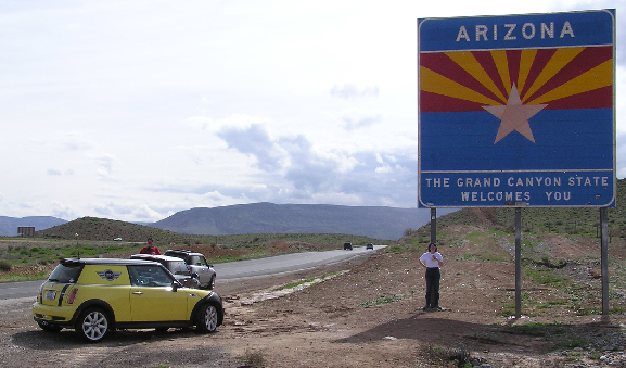 Now on I-15 heading south, a stop at the Arizona state line. The huge sign makes certain you know you're in Arizona now.