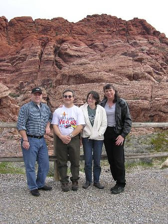 A few friends gather at a stop along the Red Rock Run, just west of Vegas. The beautiful Red Rock Canyon Nat'l Conservation Area features multi-colored sandstone formations, unique flora and wild burros.