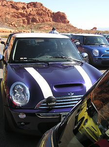 The purple haze MINI Cooper rubbing elbows with the other MINIs.