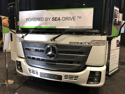 Electric Garbage Truck - Phone pics - Australian Electric Vehicle Association (AEVA) 2018 Electric Vehicle Conference & Expo - Brisbane Convention & Exhibition Centre (BCEC), South Bank, Brisbane, Queensland, Australia; Saturday 10 November 2018. Phone photos by Des Thureson - http://disci.smugmug.com