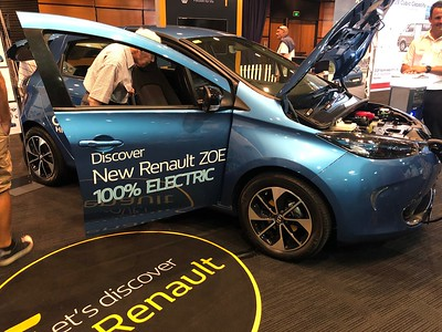 Renault Zoe - Phone pics - Australian Electric Vehicle Association (AEVA) 2018 Electric Vehicle Conference & Expo - Brisbane Convention & Exhibition Centre (BCEC), South Bank, Brisbane, Queensland, Australia; Saturday 10 November 2018. Phone photos by Des Thureson - http://disci.smugmug.com