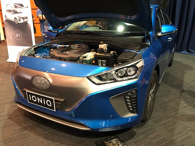 Hyundai Ionic - Phone pics - Australian Electric Vehicle Association (AEVA) 2018 Electric Vehicle Conference & Expo - Brisbane Convention & Exhibition Centre (BCEC), South Bank, Brisbane, Queensland, Australia; Saturday 10 November 2018. Phone photos by Des Thureson - http://disci.smugmug.com