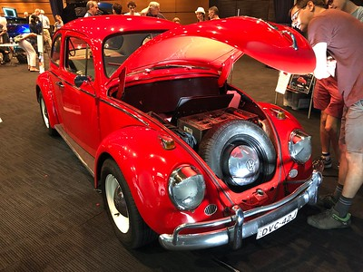 Electric Volkswagen Beetle - Phone pics - Australian Electric Vehicle Association (AEVA) 2018 Electric Vehicle Conference & Expo - Brisbane Convention & Exhibition Centre (BCEC), South Bank, Brisbane, Queensland, Australia; Saturday 10 November 2018. Phone photos by Des Thureson - http://disci.smugmug.com