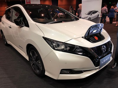 Nissan Leaf - Phone pics - Australian Electric Vehicle Association (AEVA) 2018 Electric Vehicle Conference & Expo - Brisbane Convention & Exhibition Centre (BCEC), South Bank, Brisbane, Queensland, Australia; Saturday 10 November 2018. Phone photos by Des Thureson - http://disci.smugmug.com
