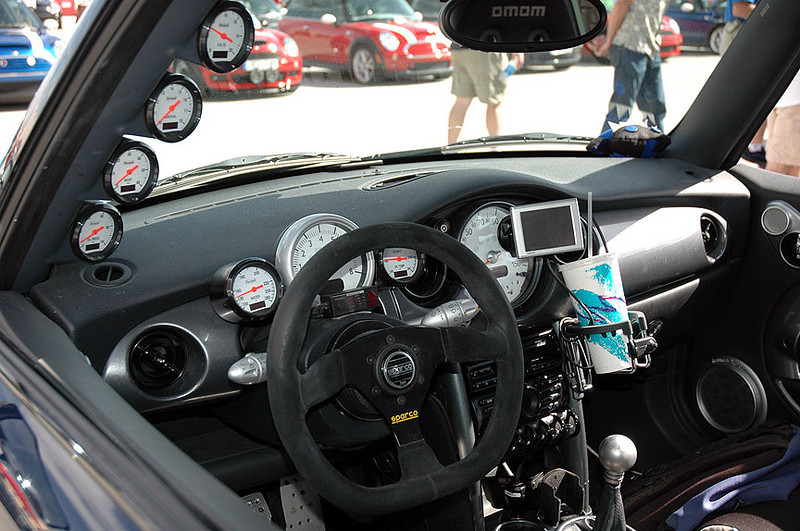 The racing MINI has plenty of gauges to keep the driver occupied.