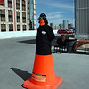 Elvis the cone man on the top-level of the parking structure awaits the arrival of more AMVIV attendees.