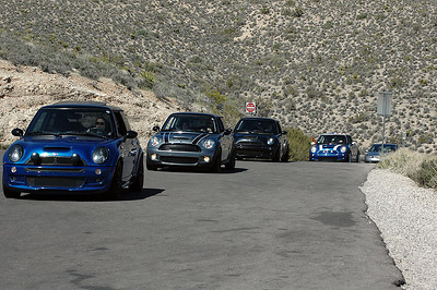 AMVIV MINIs reach the highest point in the tour of Red Rock Park, on the outskirts of Las Vegas.