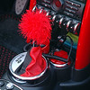 More bling for Chuck's Cabrio. This custom shift knob cozy was crocheted