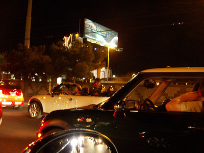 Wall-to-wall MINIs driving north on LV Blvd -- The Strip.