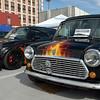 A MINI Cooper S and a Classic Mini in matching flames.