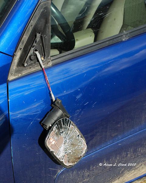 Broken mirror where the deer hit