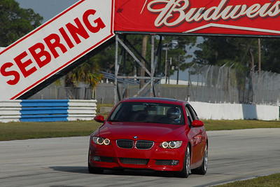Automatic Racing's David Russell at speed on Gurney Bend at Sebring, approaching the hairpin. Top speed on Gurney Bend was around 125mph.