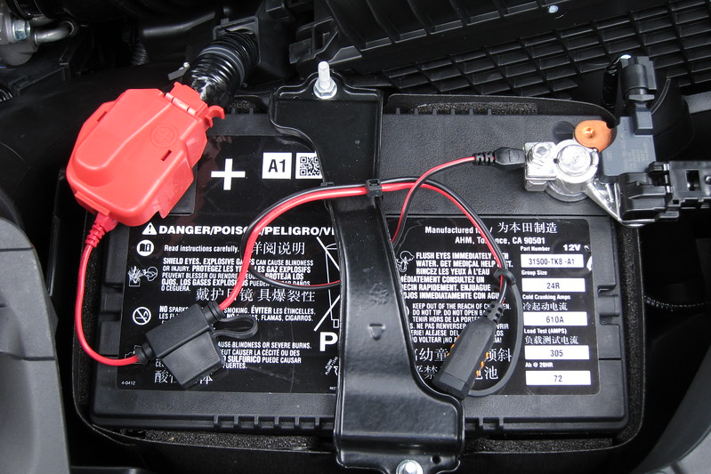 Acura RDX Battery With CTEK Charging Connector Installed