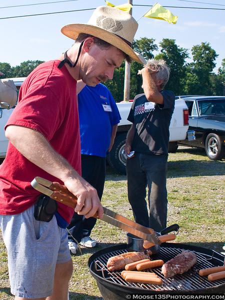 Morgan at the grill.