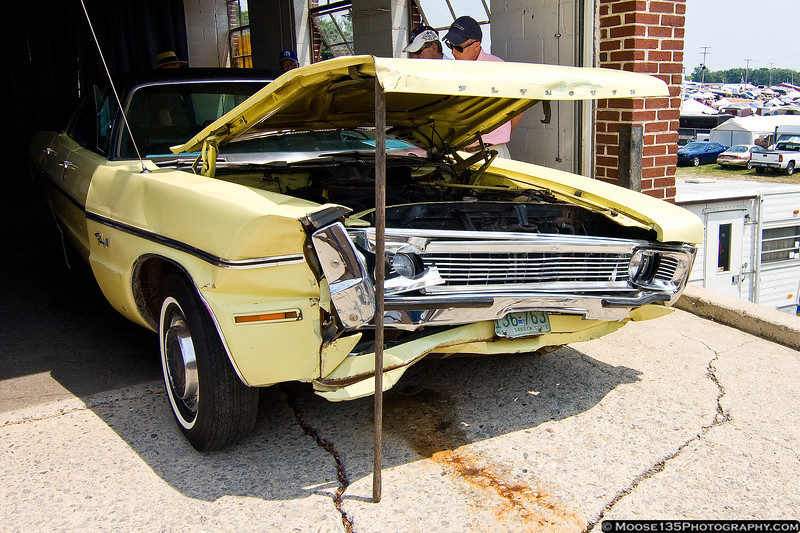 1970 Plymouth Fury, damaged in a highway accident in the early 1970s.  It was towed to a shop, where it remained, untouched, for nearly 30 years.  The new owner flushed the fuel system and the car started and runs.  You just can't kill a Mopar.
