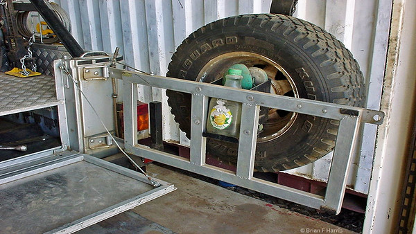 Spare wheel carrier I made and drop down rear door to replace the thin metal swing out unit.