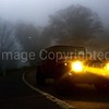 Jeep in fog