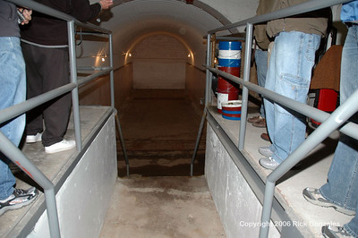 The entrance to the recessed room. The tank was removed by a salvage company prior to the Zwonitzer's ownership.