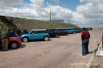Twenty MINI5280 members and their MINI Coopers (18 from Denver, 2 from Nebraska) parked outside the facility, near the missile bay door (vertical).