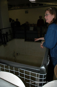 Charlene Zwonitzer explains that the pit below was formerly used for recessed wiring and other connections to equipment that supported the missile operation.