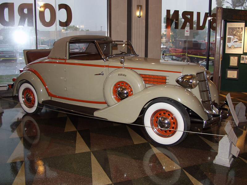 The 1936 Auburn 654 Cabriolet is powered by a 210 cubic inch displacement in-line six-cylinder Lycoming engine that produces 85 horsepower. The wheelbase measures 120 inches, and the car weighs 3,182 pounds. As the least expensive open bodied Auburn, the 654 Cabriolet cost $945. A Chevrolet Cabriolet was priced at $595.<br /> In 1936, 38% of American families lived on an annual income o0f $1,000 or less.  Life magazine made its debut