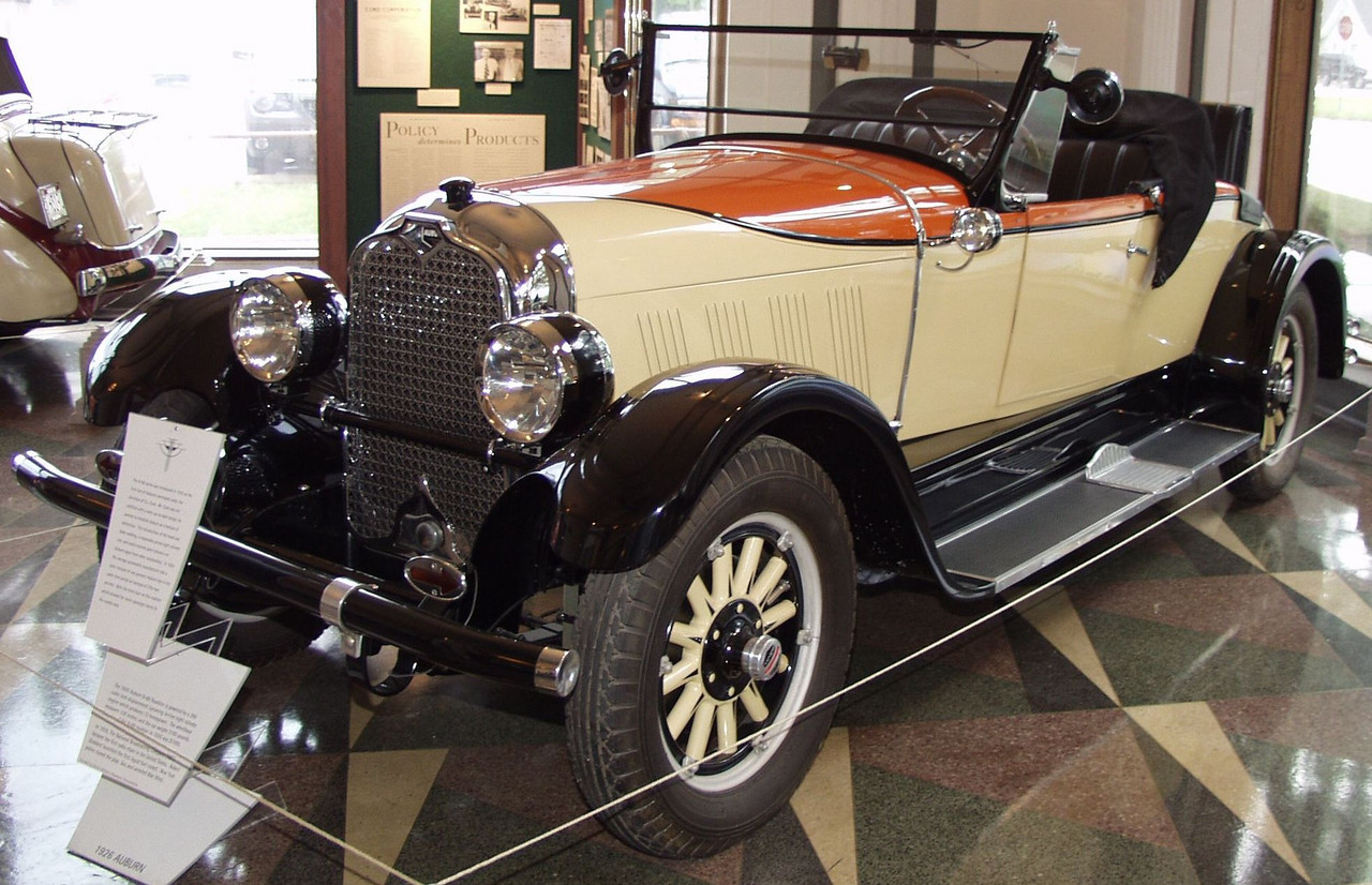 The 8-88 series was introduced in 1925 as the first line of Auburns developed under the direction of E.L Cord. Mr. Cord was not satisfied with a mere up-to-date design, he wanted to establish Auburn as a marque of distinction. The introduction of the hood and body moldinq, a reasonably priced eiqht cylinder line, and multi-colored paint schemes set Auburn apart from other automobiles.<br />  In 1926 the average automobile manufacturer had a sales increase of one percent; Auburn had in the same time period an increase of fifty-two percent. Note the third door on this roadster which allowed for easier passenger access to the rumble seat.