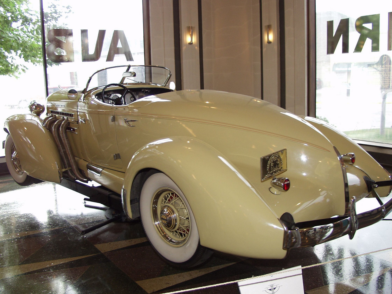 The 1935 Auburn 851 Speedster is powered by an in-line Lycoming eight-cylinder engine. Fitted with a supercharger, this motor turns out 150 horsepower.  The wheelbase measures 127 inches.  Priced at $2,245, the 851 Speedster was Auburn's most expensive 1935 model.<br /> In 1935 one tenth of one percent of U.S. corporations earned half of all corporate income.  The E.I. Dupont Corporation introduced nylon that year.