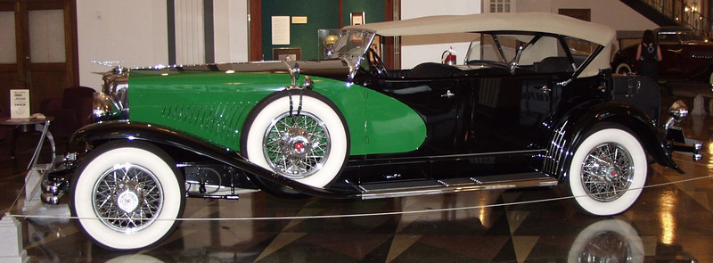 The Duesenberg Model J engine is a modified Lycoming straight eight featuring dual overhead cams and four valves per cylinder. With a displacement of 420 cubic inches, the engine was advertised to produce 265 horsepower. This vehicle sold new for approximately $14,750.<br /> In 1932, the 21 month old son of aviator Charles Lindberg was kidnapped and murdered. Franklin D. Roosevelt was elected to his first term as President of the United States.