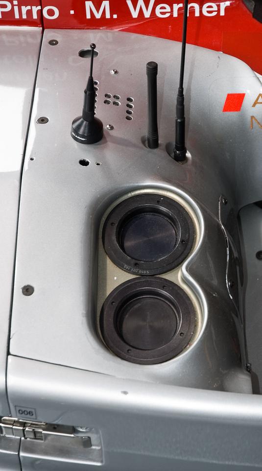 Fuel filler port and radio antennas.