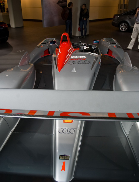 The formula car underpinnings are obvious from the rear as well.