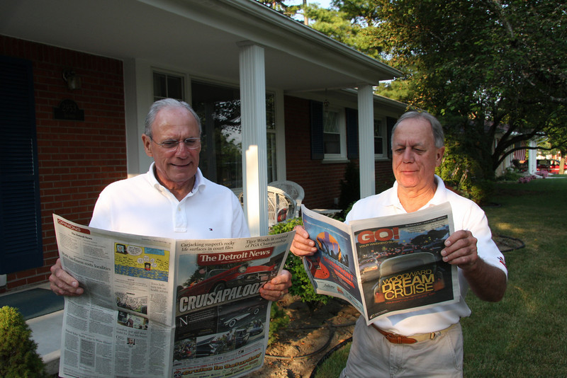 Richard and Jim Zanglin checking today's Woodward Ave Cruise in schedule at Jim's home, at 8AM-we had left Vermilion at 6.