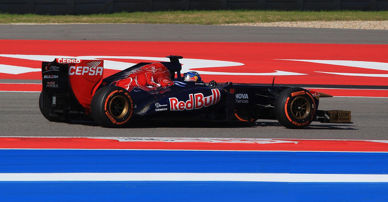 Jean-Eric Vergne in the STR Ferrari in turn four, Austin.